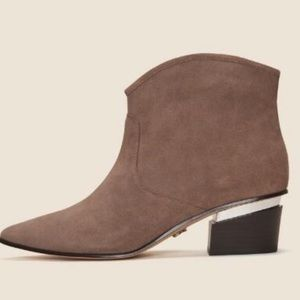 Donna Karan Grey Point Suede Ankle Boot